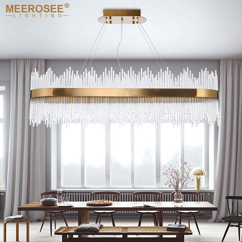 Moderne cristal pendentif LED tiges lumineuses suspendus lampe or ovale Suspension salon Restaurant pour salle à manger Luminaire Abajur