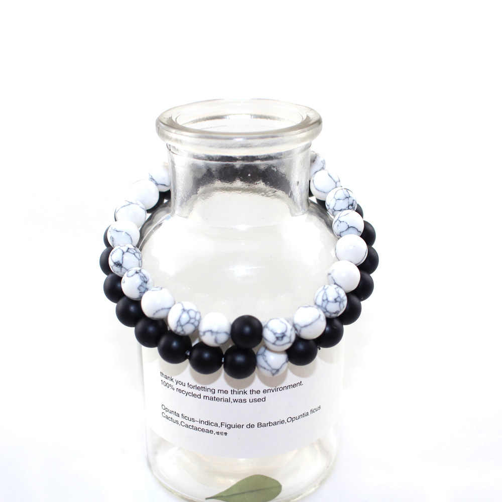 2018 kobiety biały i czarny para odległość bransoletki i Bangles dla kobiet mężczyzn miłośników klasyczny kamień naturalny koralikami kobiet bransoletki