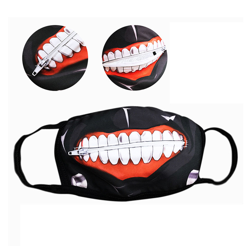 Unisex Fashion Cosplay Face Muffle Zipper Anti-Dust Anime Mask Cartoon Winter Breathing Windproof Riding Wear Mouth Face Mask