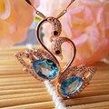 Милый лебедь форма топаз gemstone подвески твердые стерлингового серебра 925 топаз камень ожерелье романтический день святого валентина подарок