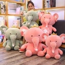 1pc 45/55/65cm Lovely Crown Big Ears Elephant Plush Toy Kids Sleeping Back Pillow Cute Stuffed Baby Accompany Doll Gift