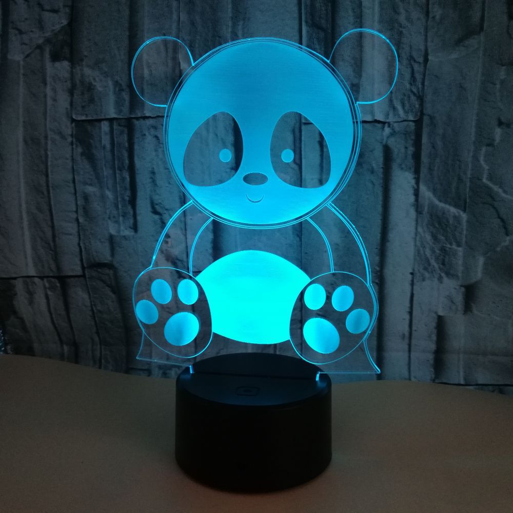 Lovely Panda Model LED 3D Night Light 7 Color Flashing Remote Touch Usb Illusion Baby Sleeepping 3D Lamp Home Bedroom Decoration