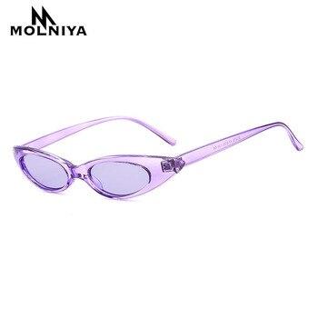 MOLNIYA 2018 Cat Eye Hot Sunglasses Women Small Eyewear Brand Designer oval Sun Glasses Cool Trend Goggle UV400 Female Flat Top