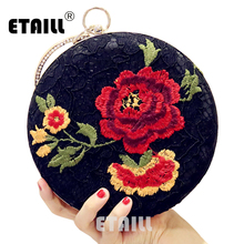 ETAILL Black Lace Red Flower Embroidered Evening Bag Vintage Clutch Bags National Women Chains Wedding