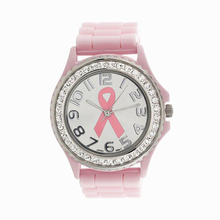 Womens Quartz Watch Silicone Strap 1 PC Pink Bow Cancer Patterns Analog Wrist Watch Diamond Watches for Women Wholesale 40M10