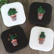 6.8x6.8x2cm Lovely cactus Contact Lens Cases Glasses Case Eyes Contact Lenses Box Care cute beauty storage box Black White