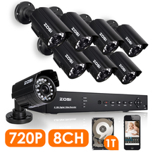 ZOSI HD 1200TVL 8CH 720 P DVR CCTV Sistema 8 UNIDS 1.0MP Intemperie Al Aire Libre Cámara de Seguridad Inicio de Vigilancia de Vídeo Kits 1 TB HDD