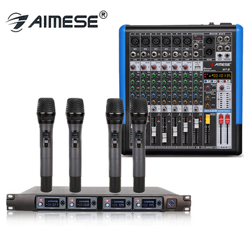 Professional Wireless Microphone System U4000F 4 Channel UHF Dynamic 4 Handheld Microphone + MT 8 Portable Mixer 8 Channel