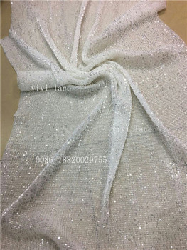BH1126# good quality crushed tulle crytal sequin stretch net mesh polyestor lace fabric for wedding/evening dress/party