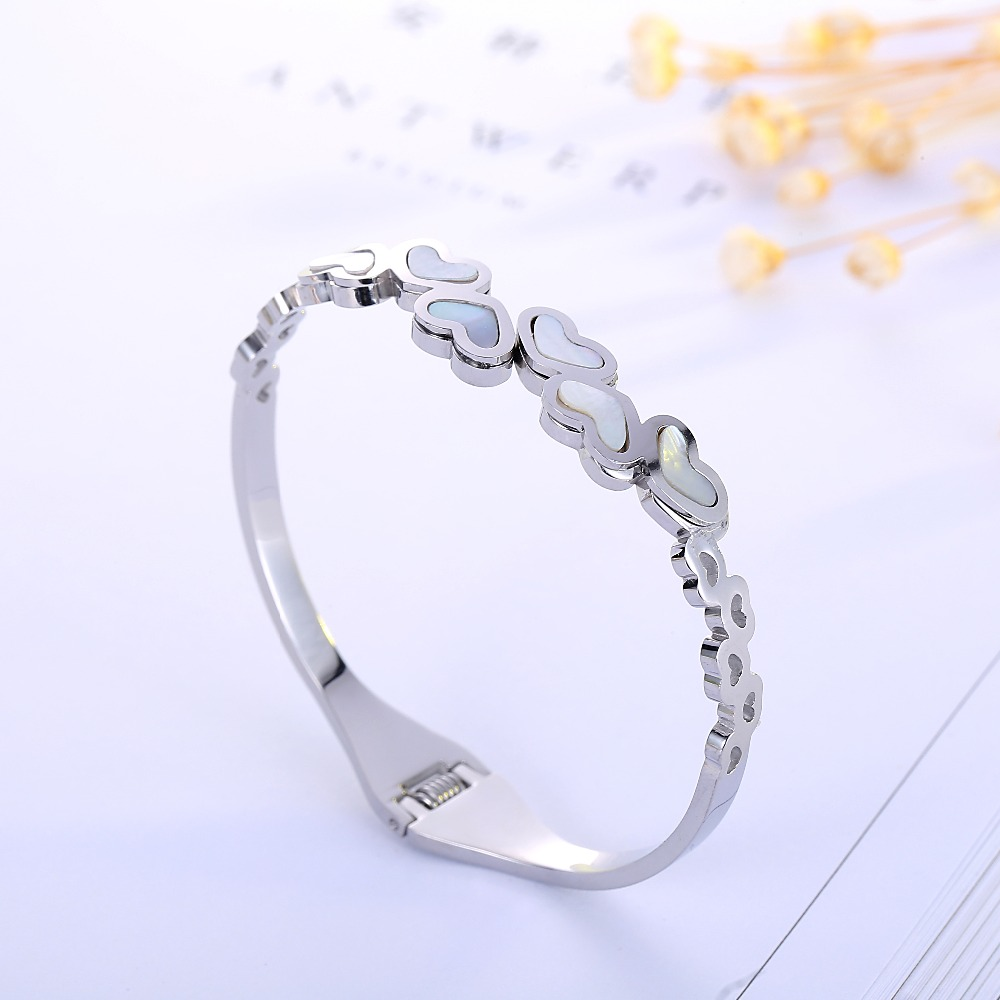 Top Quality Five Heart Love Couple brand Fashion Jewelry Cuff Carter Bracelets Bangles 316L Stainless Steel Bracelets For Women
