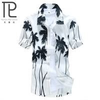 Summer 2015 Men Hawaii Shirt Beach Leisure Fashion Floral Shirt Coconut Palm Beach Printing Hawaiian Shirt