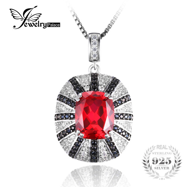 Jewelrypalace Luxury 6ct Created Red Ruby Natural Black Spinel Solid 925 Sterling Silver Pendant Charm Vintage Jewelry No Chain