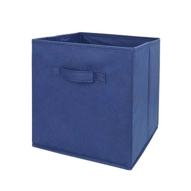 Blue Fabric Cube Storage Bins, Foldable, Premium Quality Collapsible  Baskets, Closet Organizer Drawers