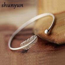 Shunyun 925 Sterling Silver Simples Folha Boho Pena Cuff Pulseiras & Pulseiras Acessórios para As Mulheres Meninas Presente Jóias Da Moda