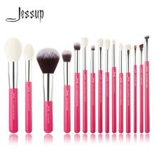 Jessup Rosa carmin/Argento Professionale di Trucco Pennelli Set naturale dei capelli di trasporto sintetico Make up Brush Tool kit Prodotti Di Base matita di polvere