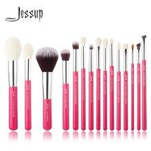 Jessup Rose carmin/Silver Juego de pinceles de maquillaje profesional, brocha de maquillaje de pelo natural y sintético, lápiz de base en polvo