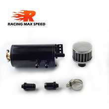 racing auto motorcycle Aluminium fuel tank oil catch tank with filter black mini OCT1117 with outlet 15mm and 12.7mm цены