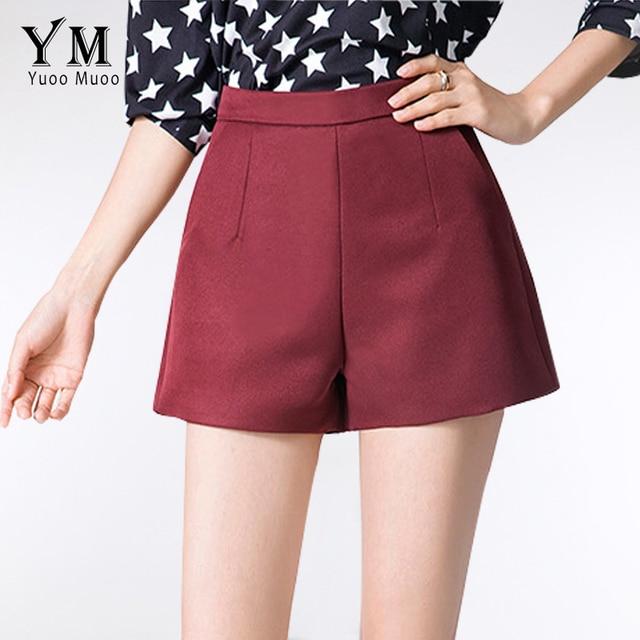 YuooMuoo 2016 Novas Senhoras Shorts com Cintura Alta Casuais de Trabalho desgaste Perna Larga Mulheres Curto Elegante A-line Curto feminino Mais tamanho