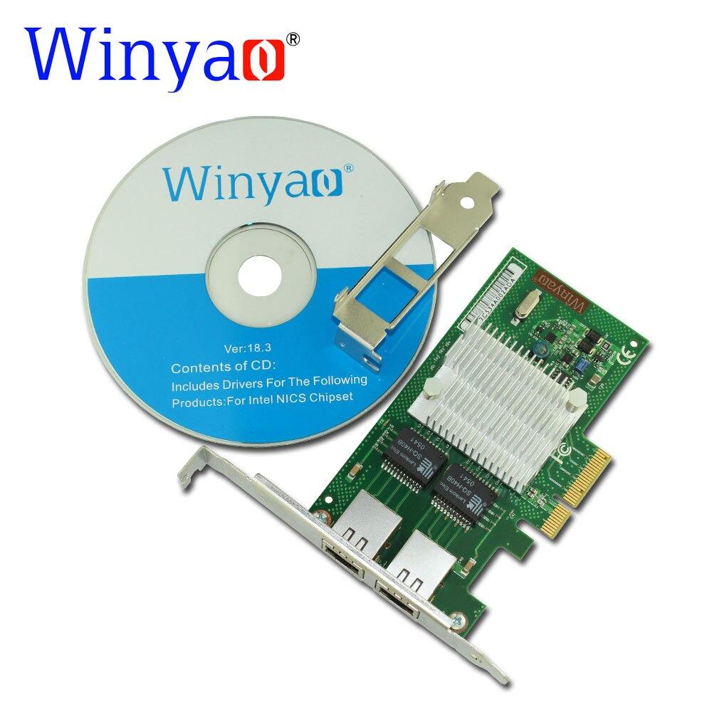 ФОТО Winyao WYI350-T2 PCI-E X4 RJ45 Server Dual Port Gigabit Ethernet 10/100/1000Mbps Network Interface Card For intel i350-T2 NIC