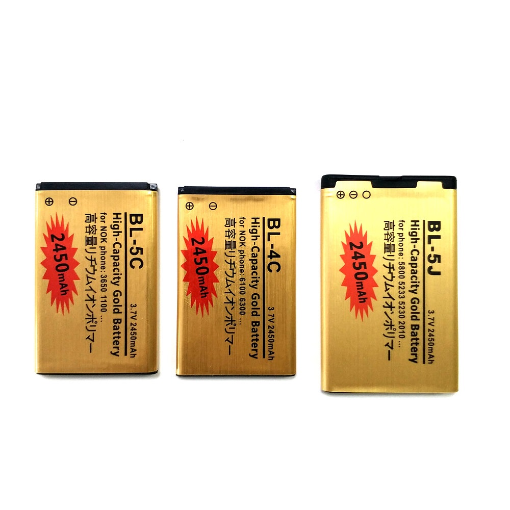 2 X BL-4C BL-5J BL-5C 2450mAh Battery For Nokia 6100 6125 6170 C2-01 N70 N72 2630 N75 5070 5140 Lumia 520 Li-ion Battery
