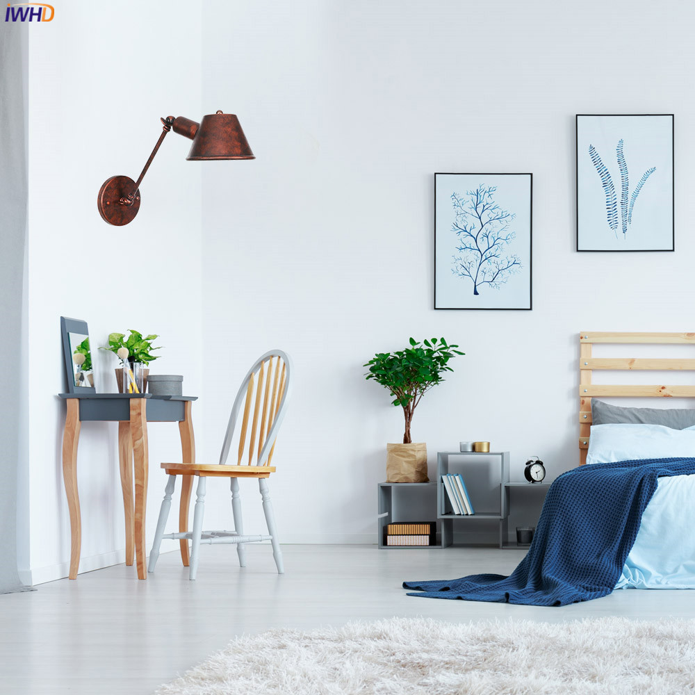 IWHD черный железный промышленный светодиодный настенный светильник, Светильники для спальни, ванной комнаты, зеркало в стиле лофт, винтажный настенный светильник с аппликацией Эдисона Murale
