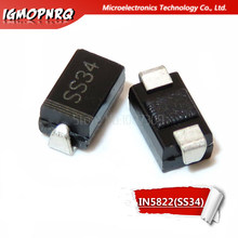 100 pces 1n5822 sma diodo ss34 smd do-214ac in5822 schottky(China)