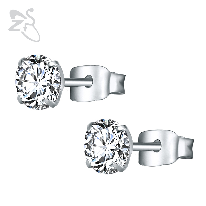 3-8mm Small Silver Gold Earrings with Stone CZ Crystal Ear Studs Surgical Steel Cubic Zirconia Helix Earring Women Accessories