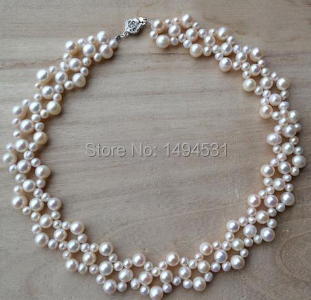 Gros bijoux de perles, 16 pouces 5-9mm couleur blanche véritable collier de perles d'eau douce-demoiselles d'honneur bijoux de mariage-fait à la main