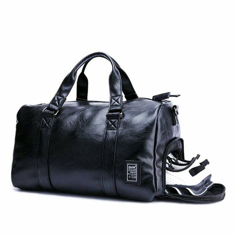 Black Gym Bag Men Leather Duffle Bag Women Independent Shoe Storehouse Sport Crossbody Bag PU Travel Bags Hand Luggage For Gym