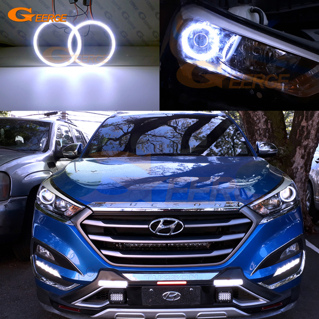 US $27 0 |For Hyundai Tucson 2016 2017 HALOGEN HEADLIGHT Excellent angel  eyes Ultra bright illumination COB led angel eyes kit-in Car Light Assembly