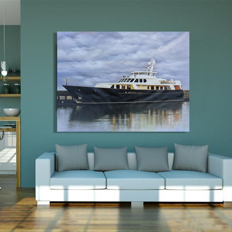 Hot Sale Hand Painted Yacht Oil Painting On Canvas Wall Art Pictures For Living Room Home Decoration