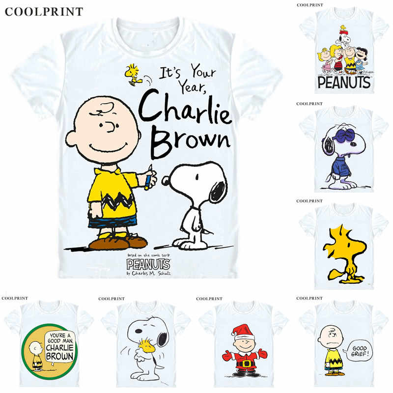 a3a0c7a8c96b5c PEANUTS T Shirt Charlie Brown Woodstock Charles Monroe Sparky Schulz Anime  Custom Casual Cosplay T-