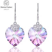 WARME FARBEN Crystal from Swarovski Women Earrings Amethyst Heart Drop  Earring Fine Jewelry 925 Sliver Dangle da00be64b75b