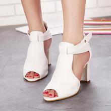 {D & H}โรมสไตล์G Ladiatorรองเท้าแตะผู้หญิงเซ็กซี่P Eep Toeข้อเท้าตัดหนังรองเท้าแตะผู้หญิงฤดูร้อนรองเท้าผู้หญิงรองเท้าแตะสีขาว