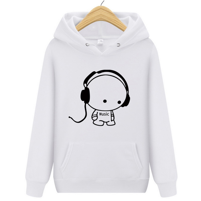 Top Quality Hoodie Fashion Headset Cartoon Printed Casual pullover Hoody Men Brand  Hip-hop Hoodie  Plus  Size 2XL