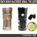 6T6 7000 Люмен SKY РЭЙ Кинг 6 xCREE XM-L T6 3-mode СВЕТОДИОДНЫЙ фонарик 6T6 Факел + 4*4000 МАч 18650 Аккумулятор + Зарядное Устройство