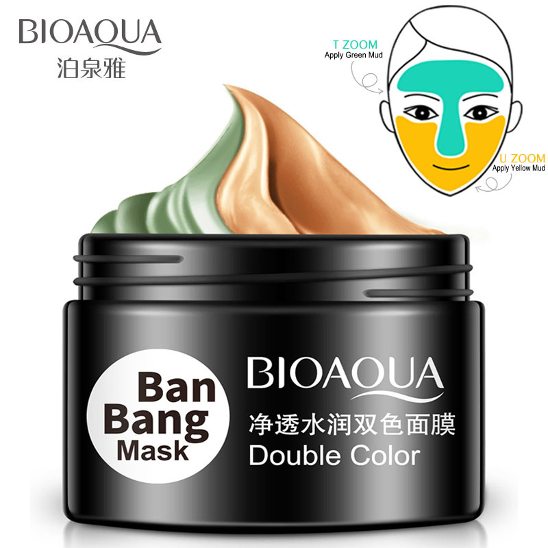 BIOAQUA Brand Double Color Moisturizing Whitening Mask Mud Deep Cleaning Skin Pore Acne Blackhead Treatment Facial Care Cream