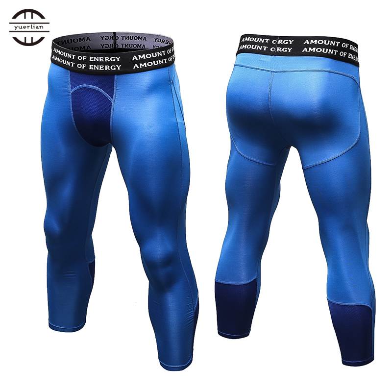 цены на Yuerlian Gym 3/4 Leggings New Compression Sports Tights Sweat Pants For Men Jogging Trousers Running Quick Dry Sporswear Fitness
