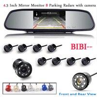 Car Detector Parking Sensor 8 Redars BIBI Alarm Sound Parktronic Monitor Mirror LCD TFT Front Form