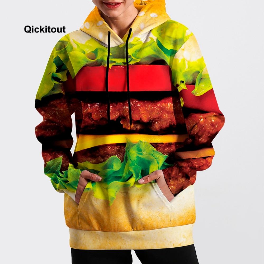 2018 Men/Women Cool Hamburger Sweatshirt Hip-Hop Hoodie Spring Long-Sleeve Dance Fashion Street Casual Pocket Pullover