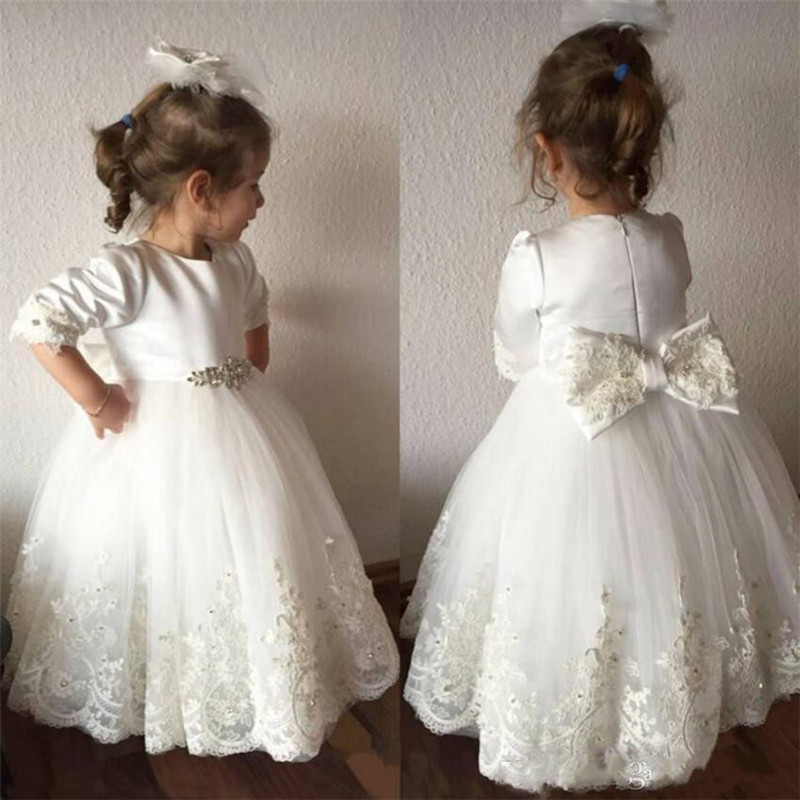 White Cute Ball Gowns with Beading Bow Jewel Neck Cheap Flower Girl Dress Prepared For Princess Parties Custom Made Vestidos