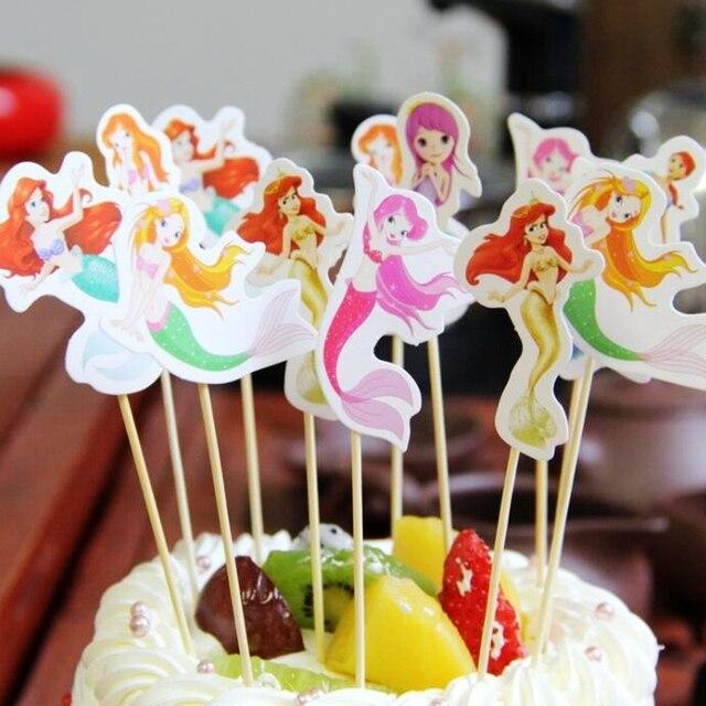 Neue 12 Stücke Multicolor Mermaid Prinzessin Mädchen Kuchendeckel