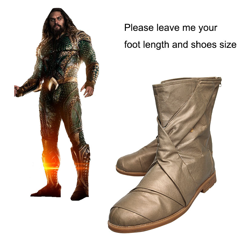 Justice League Cosplay Boots Aquaman Arthur Curry Cosplay Shoes Halloween Party Boots Superhero Props Adult Men Accessories