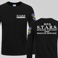 Resident Evil 6 S T A R S Logo Leon T Shirts Mens Casual Black Long