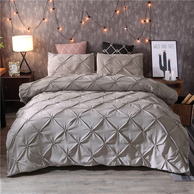 Luxury Duvet Cover Set Grey Pinch Pleat 2 3pcs Twin Queen King Size  Bedclothes Bedding Sets (no filling no sheet ) 15e4f626f
