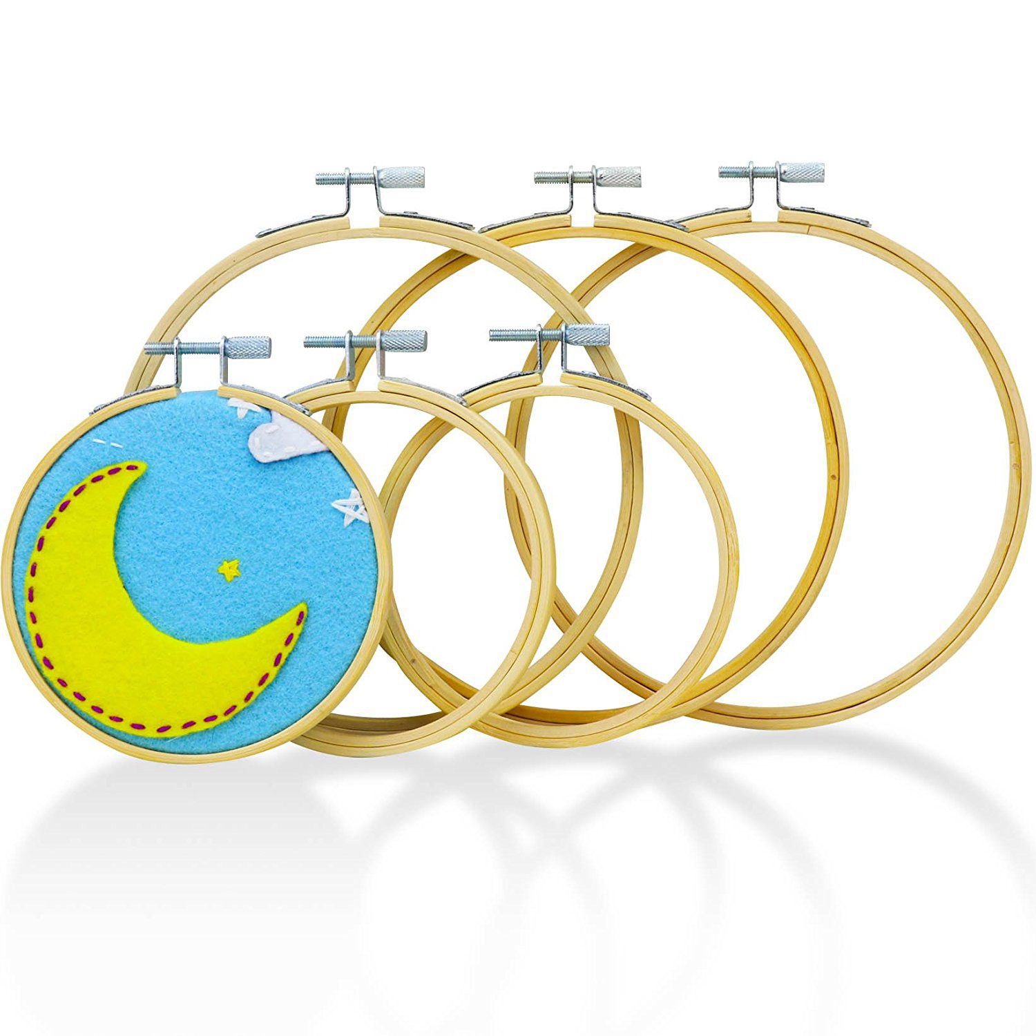 Embroidery Hoops For Cross Stitch 6 Pack Premium Round Bamboo Hoop