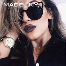 MADELINY High Quality Fashion Women Sunglasses Cat Eye Mirror Glasses Metal Frame Cat Eye Sun Glasses Women Brand Designer MA073