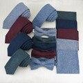 Corbata para hombre Conjuntos de Moda de Color Sólido de Algodón Suave 5.5 cm Tie + Bowtie + Pocket Square Pañuelo Set Trajes de Vacaciones regalo del Lazo de la Boda