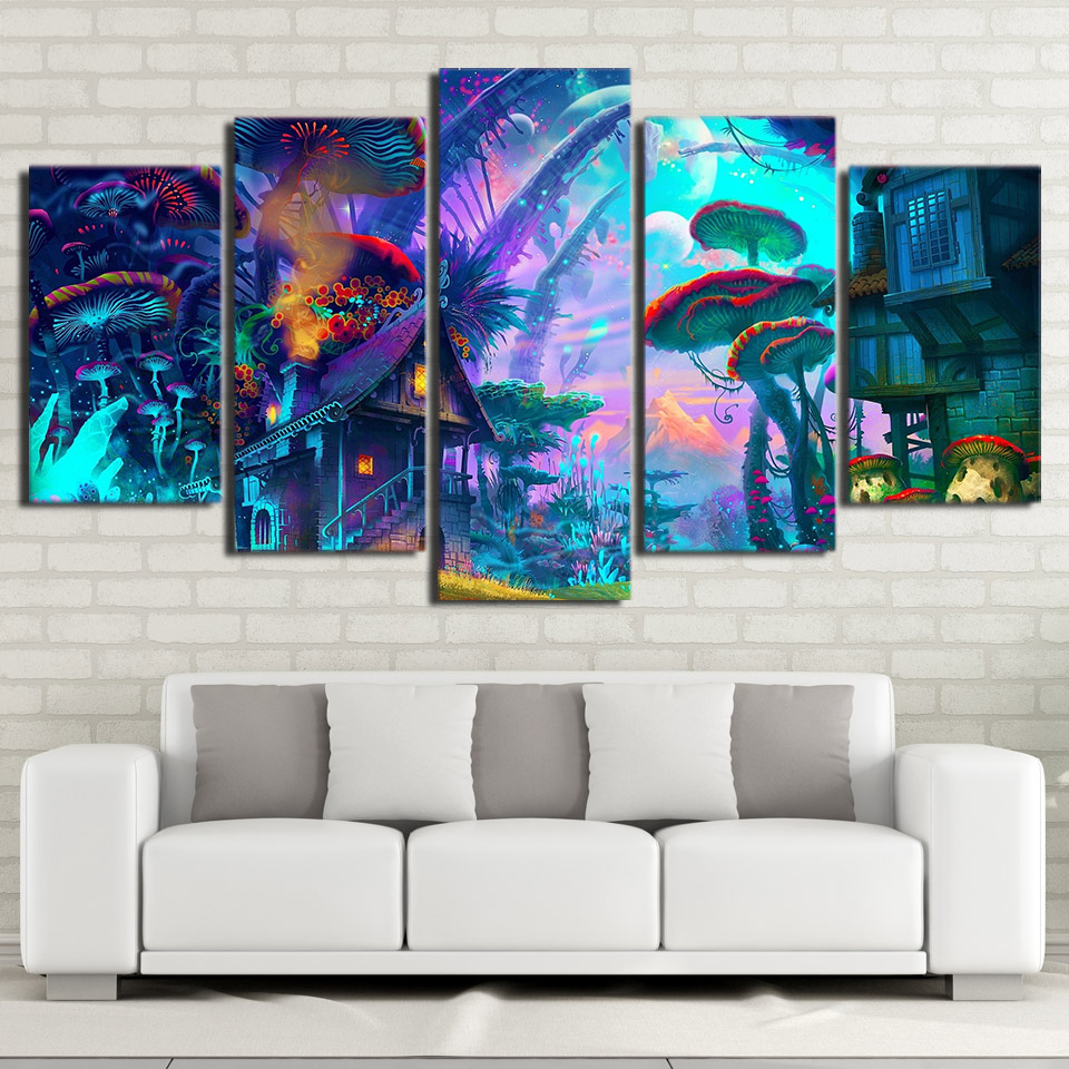 Trippy Home Decor: Mushrooms House Psychedelic Trippy Art Silk Canvas Poster