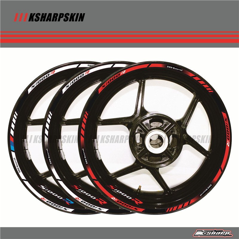 12 X Thick Edge Outer Rim Sticker Stripe Wheel Decals For  BMW S1000R 17''